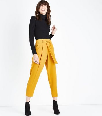 Mustard Yellow Tie Waist Trousers