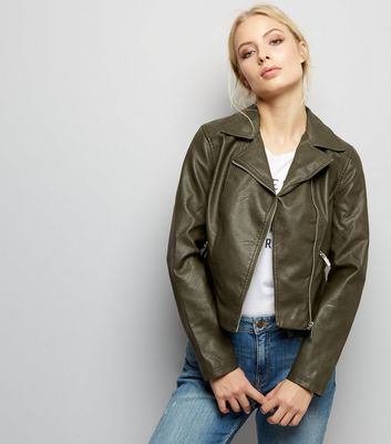 Dark Green Leather-Look Biker Jacket