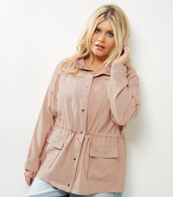Curves Pink Drawstring Waist Shacket