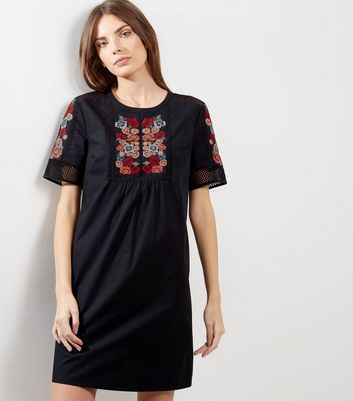 Black Floral Embroidered Mesh Panel Tunic