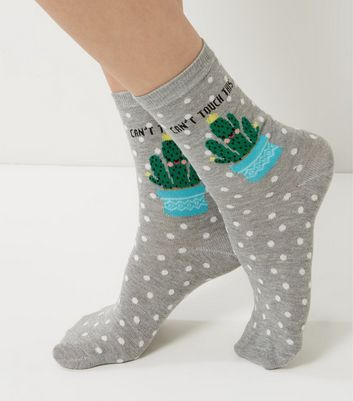 "Graue Socken mit ""Cactus Can't Touch This Print""-Aufdruck"