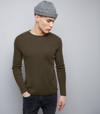 Brown Raw Hem Pocket Front Jumper