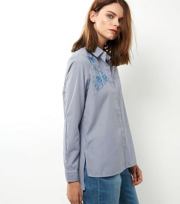 Blue Floral Embroidered Stripe Shirt