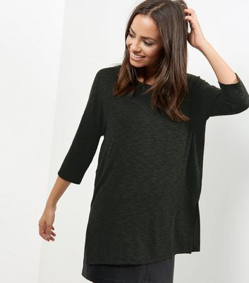 Khaki Split Side Crew Neck Top