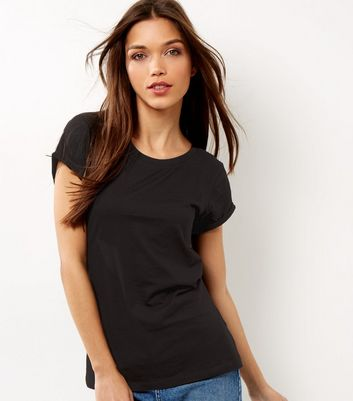 Tall Black Rolled Sleeve T-shirt