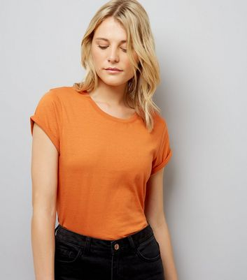 Tall Orange Rolled Sleeve T-Shirt