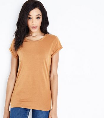 Tall Mustard Yellow Roll Sleeve T-shirt