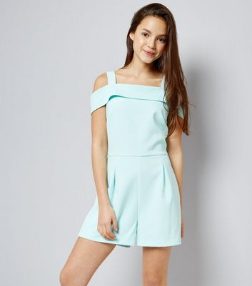 Teenager – Mintgrüner Cold-Shoulder-Playsuit