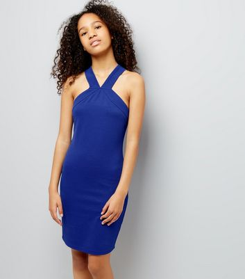 Teens Blue V Neck Textured Bodycon Dress