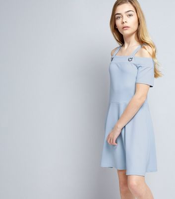 Teens Pale Blue Crepe Eyelet Cold Shoulder Skater Dress