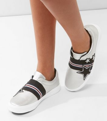 Silver Embroidered Star Slip On Plimsolls