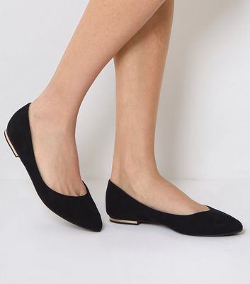 Black Suedette Metal Trim Pointed Pumps