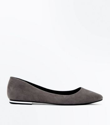 Grey Suedette Metal Trim Pointed Pumps
