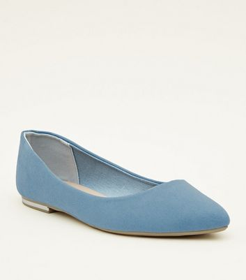 Pale Blue Suedette Metal Heel Pointed Pumps