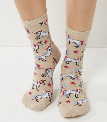Cream Stars and Unicorn Print Socks