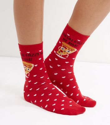 Red Pizza My Heart Print Socks