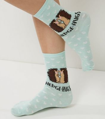 Mint Green Hedge Hugs Print Socks