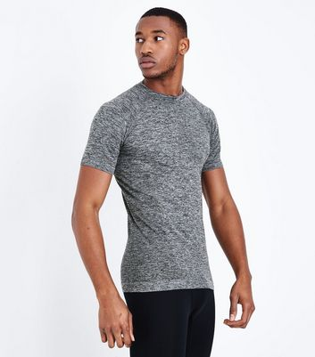 Grey Seamless Short Sleeve Sports T-Shirt
