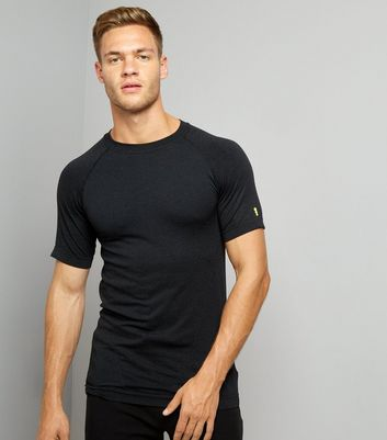 Black Seamless Short Sleeve Sports T-Shirt