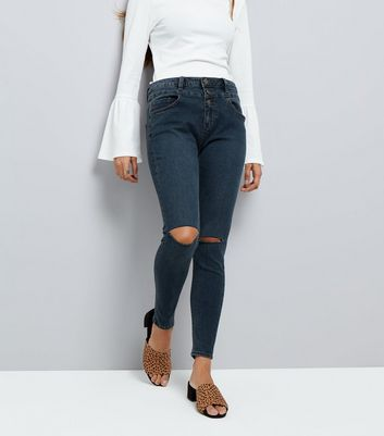 Petite Blue High Waist Ripped Knee Super Skinny Jeans