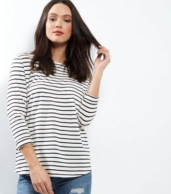 Tall Blue Stripe 3/4 Sleeve Top