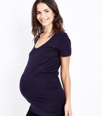 Maternity Navy Blue Scoop Neck T-Shirt