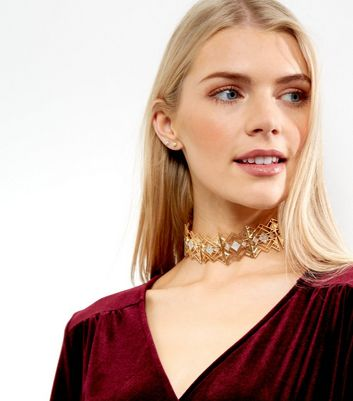 Gold Square Crystal Choker