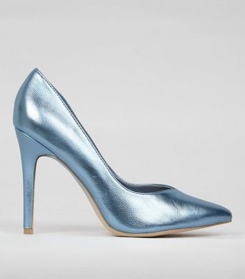 Wide Fit Blue Metallic Pointed Court Shoes