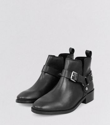 Black Leather Buckle Cut Out Ankle Boots