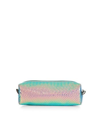 Pink Holographic Snakeskin Texture Pencil Case