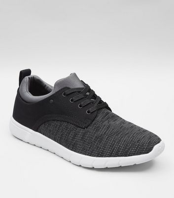 Black Knitted Contrast Sole Trainers