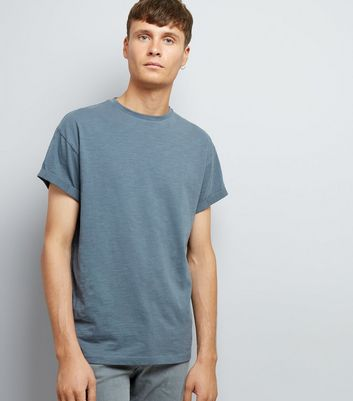 Grey Cotton Rolled Sleeve T-Shirt