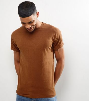 Tan Cotton Short Sleeve T-Shirt