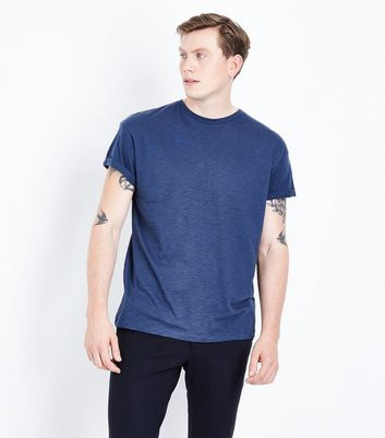 Navy Cotton Rolled Sleeve T-Shirt