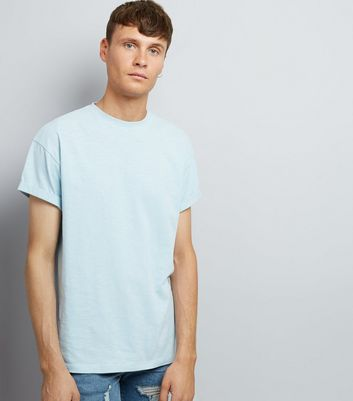 Pale Blue Cotton Rolled Sleeve T-Shirt