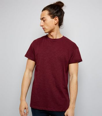 Burgundy Cotton Rolled Sleeve T-Shirt