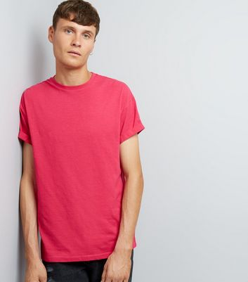 Pink Cotton Rolled Sleeve T-Shirt