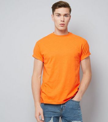 Orange Cotton Rolled Sleeve T-Shirt