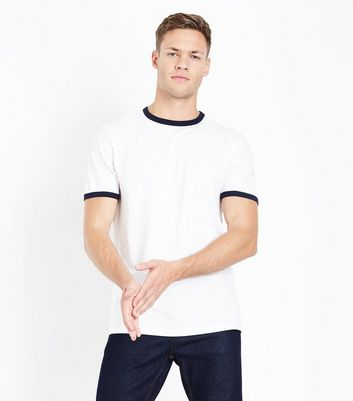 Cream Contrast Trim T-Shirt