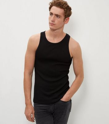 Black Cotton Basic Vest