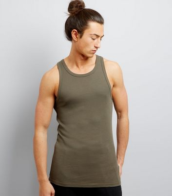 Khaki Muscle Fit Ribbed Vest