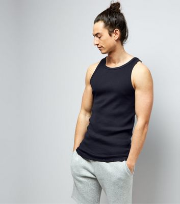 Navy Muscle Fit Ribbed Vest