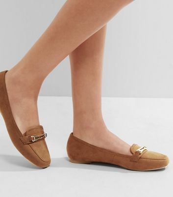 Tan Suedette Metallic Trim Loafers