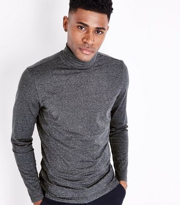 Grey Roll Neck Long Sleeve Top