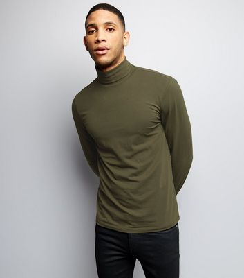 Khaki Roll Neck Long Sleeve Top
