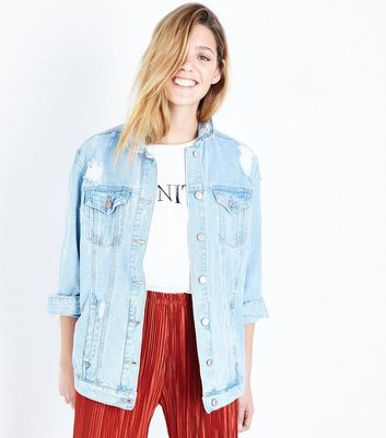 Pale Blue Oversized Distressed Denim Jacket