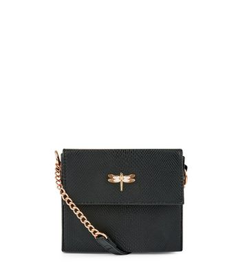 Black Snakeskin Texture Mini Box Bag