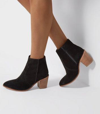 Wide Fit Black Suede Western Ankle Boots