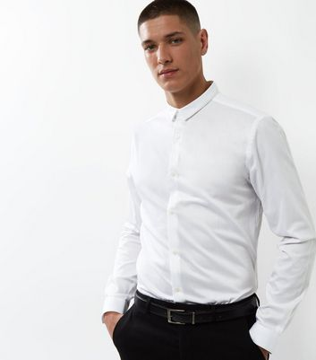 White Crossgrain Trim Long Sleeve Shirt