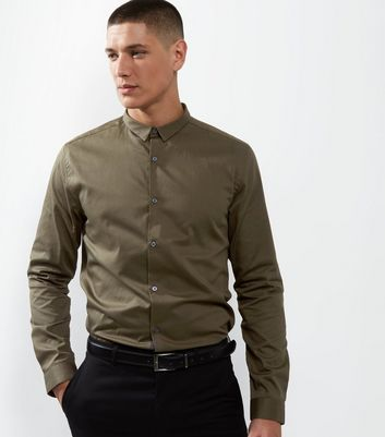 Khaki Crossgrain Trim Long Sleeve Shirt